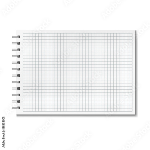Horizontal Vector Realistic Graph Ruled Notebook. Notepad With Blank Quad  Paper On Metallic Ring Spiral  Notepad Paper Template