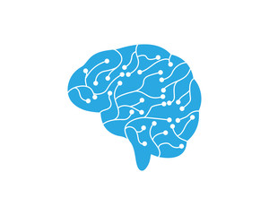 Circuit Brain vector illustration icon