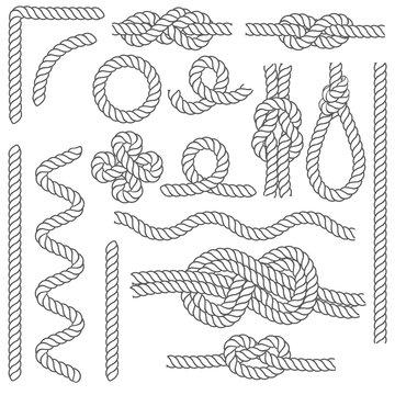Rope Knots Borders Black Thin Line Icon Set. Vector