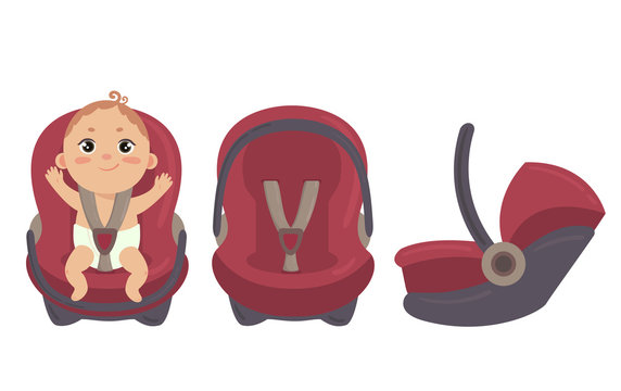 Babyboy in diaper sitting in automobile seat. Car chair for baby from different angles. Side and front view of carseat. Red combo stroller with hand grip. Vector on white background