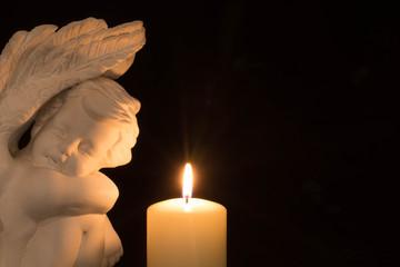 Engel und Kerze mit Freitextfläche