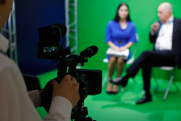 interview in tv green screen studio
