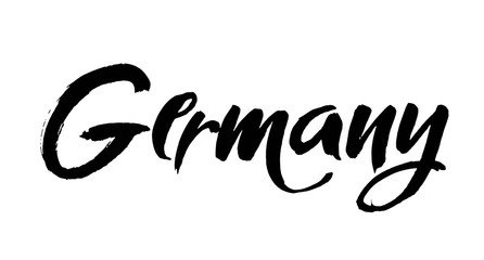 art lettering design vector of country name for Germany. Modern brush calligraphy. Isolated on white background.