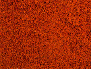 Texture background. Red paprika powder Top view