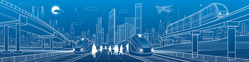 Trains ride on railroad. Passengers at station. Transport overpass. Monorail move. Urban infrastructure, modern city on background, industrial architecture. White lines, town scene, vector design art Fotomurales