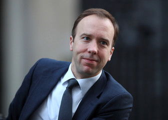 Britain's Secretary of State for Digital, Culture, Media and Sport Matt Hancock arrives in Downing Street in London
