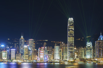 """A Symphony of Lights"", Laser show in Victoria Harbor in Hong Kong city"