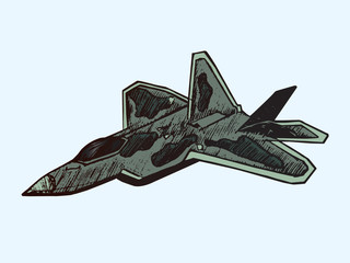 Military airplane Raptor in camouflage colors, hand drawn doodle sketch, isolated vector color illustration