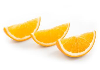 Orange fruit slices isolated on white background cutout