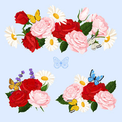 Romantic flowers bouquets  with roses, chamomile and butterflies. Vector floral collection.