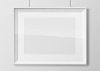 Horizontal white photo frame with glass