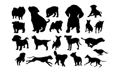 Set of Cute Dog and Puppy Silhouette vector