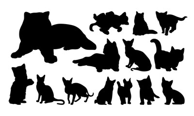 Set of Cute Cat and Kitty Silhouette vector