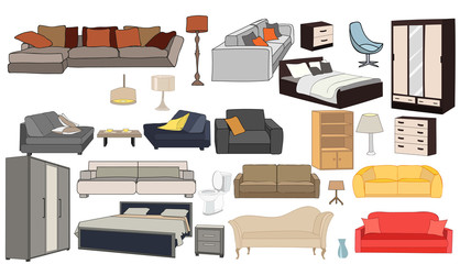 vector, isolated set of furniture
