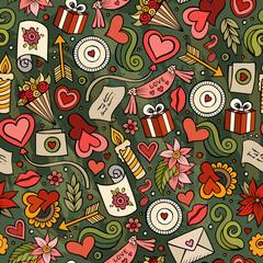 Cartoon cute hand drawn Valentine's Day seamless pattern
