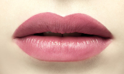 face close up mouth with beautiful lipstick