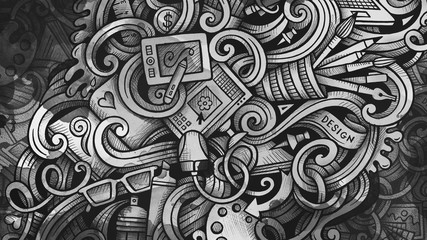 Doodles graphic design illustration. Creative art background