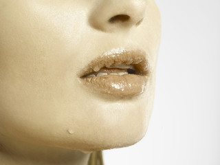 CLOSE UP OF GOLD WET LIPS