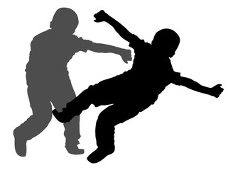 Two boys fighting vector silhouette. Two young brothers fighting vector silhouette illustration. Angry kid terror. Street hitting and punching after school.