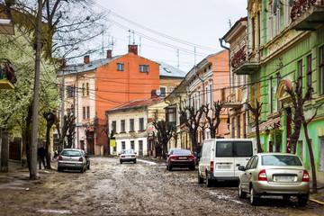 Old street in Chernivtsi, Ukraine