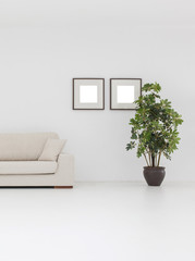 white living room with vase of plant and frame decoration