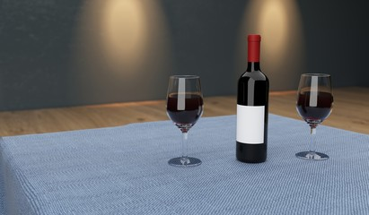 3D Rendering Realistic Table With Cloth And Two Glasses Full Of Wine With Bottle Background