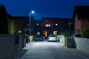 night street in quiet residential quarter