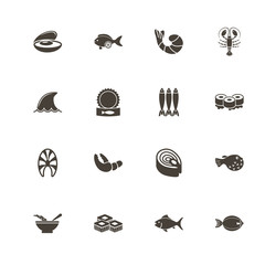 Sea Food icons. Perfect black pictogram on white background. Flat simple vector icon.
