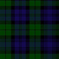 Scottish plaid in green, black, blue. Campbell tartan seamless pattern
