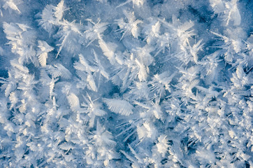 texture of ice on blue background