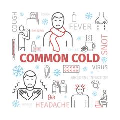 Common cold. Flu season. Symptoms, Treatment. Line icons set. Vector signs for web graphics.