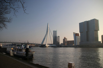 Erasmusbrug in the morning sun during sunrise at river Nieuwe Maas in Rotterdam, the Netherlands