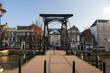 Old city buildings in downtown Schiedam, the Netherlands