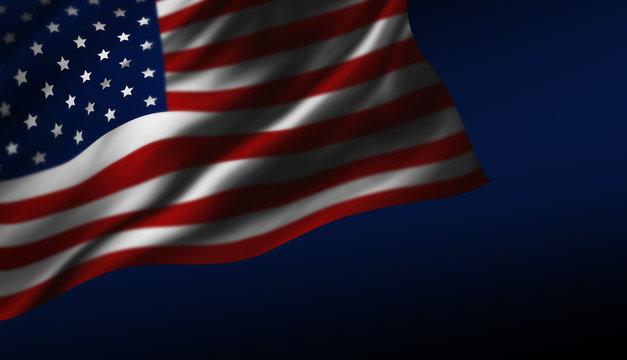 USA or America flag design at night