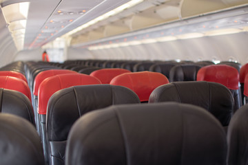 Empty airplane prepare to take off