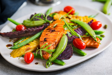 Grilled Sweet Potatoes with Snap pea and Rocket