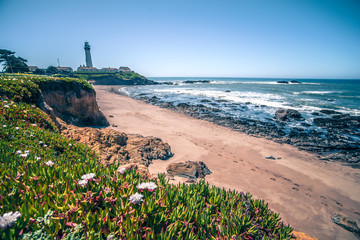 Pigeon Point Lighthouse and landscapes on pacific coast