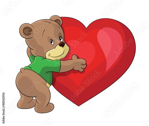 Bear Hugging Big Red Heart I Love You Valentine S Day Teddy Bear