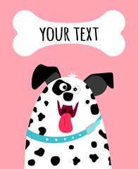 Greeting card with dalmatian dog face