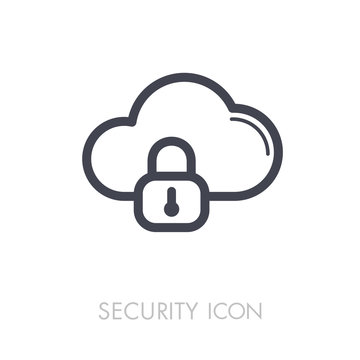 Cloud computer storage with lock icon