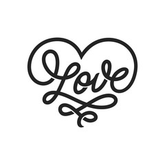 Love word lettering in form of heart. Vector vintage illustration.