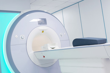 Female patient undergoing MRI - Magnetic resonance imaging scan device in Hospital. Medical Equipment and Health Care..