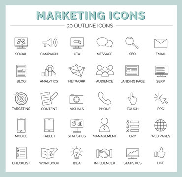 Marketing Icons - Vektor Icon Set with Campaign, Social Media, Content, SEO, Email, Mobile, Blog