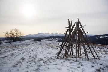 Podhale in winter, malopolskie region, Poland