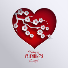 Valentine's day holiday design. Paper red heart decorated with cherry flowers branch tree cutted out white background. Greeting card, poster, banner, paper cut out art style. Vector illustration