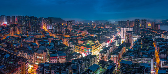 Night view of urban architecture in Chongqing,China