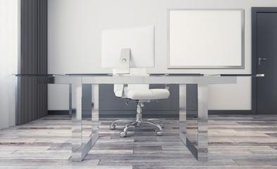 Modern meeting room. 3D rendering. Empty paintings
