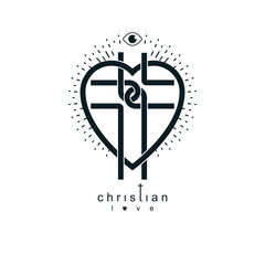 Love of God conceptual symbol combined with Christian Cross and heart, vector creative logo.