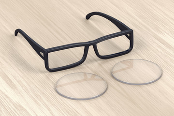 Eyeglasses frame and lens