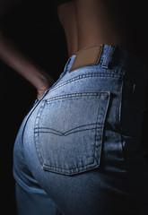 Sexy perfect female buttocks in jeans denim